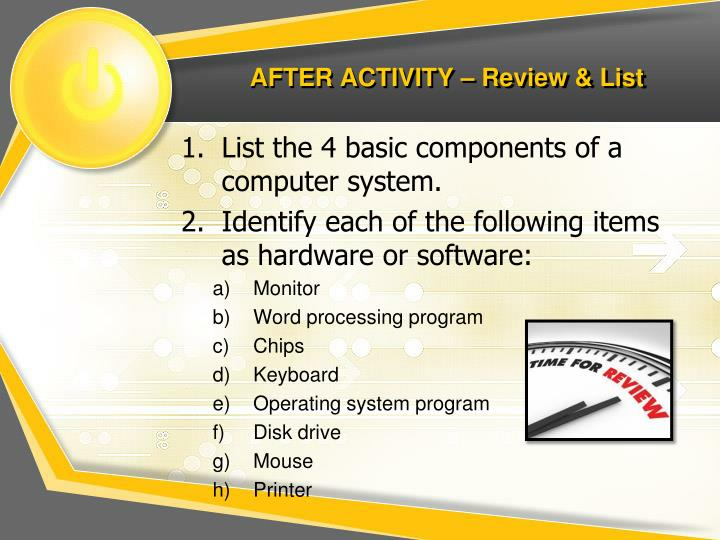AFTER ACTIVITY – Review & List