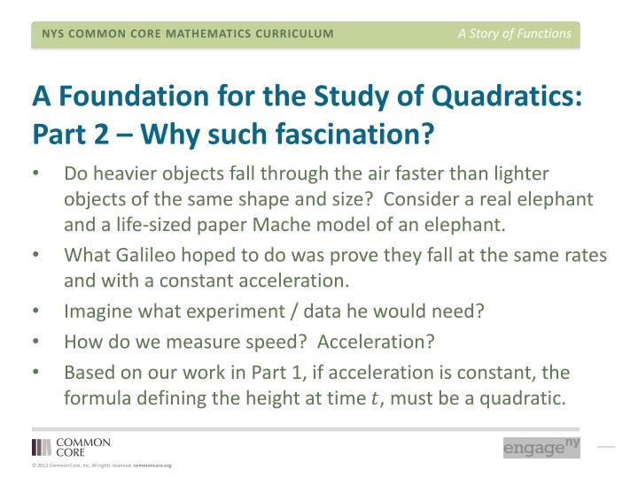 A Foundation for the Study of Quadratics: