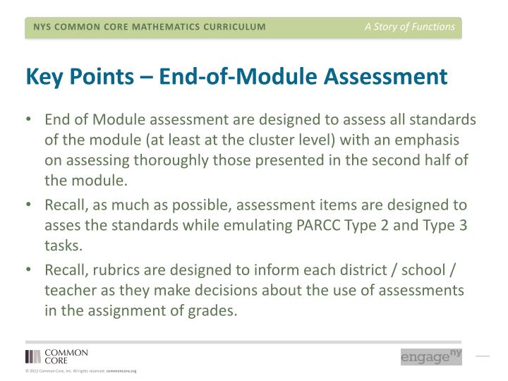 Key Points – End-of-Module Assessment