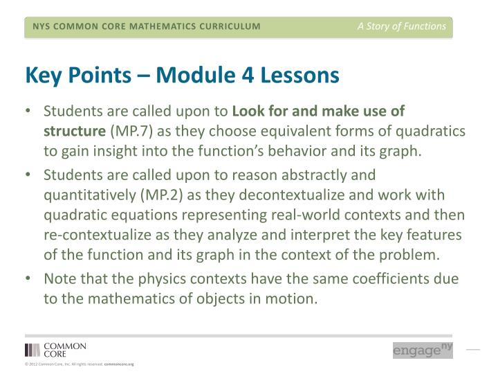 Key Points – Module 4 Lessons