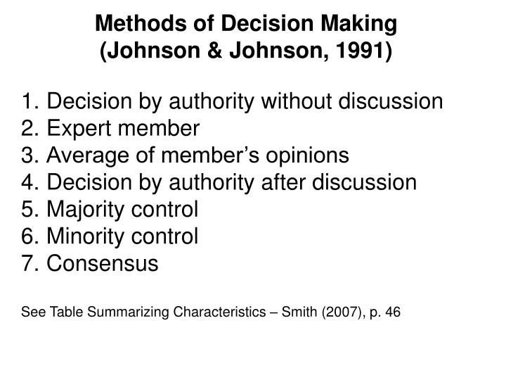Methods of Decision Making