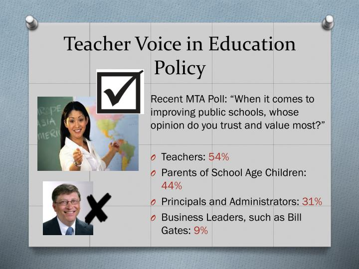 Teacher Voice in Education Policy