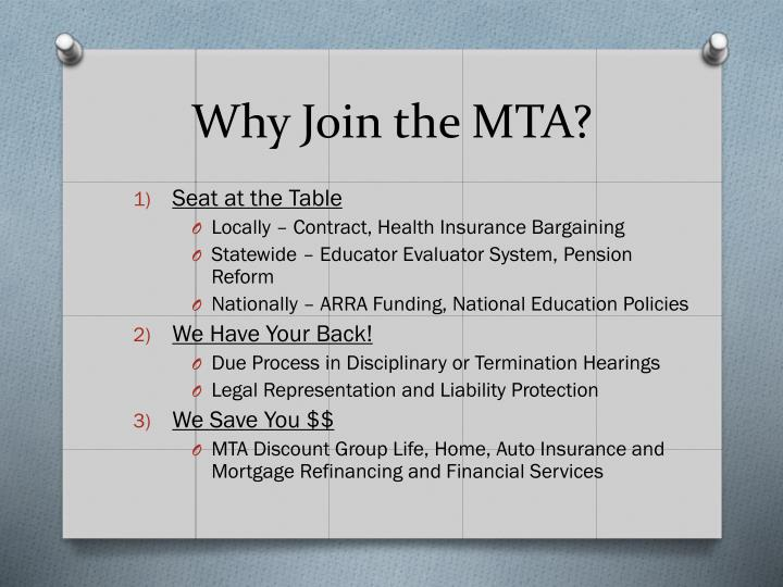 Why Join the MTA?