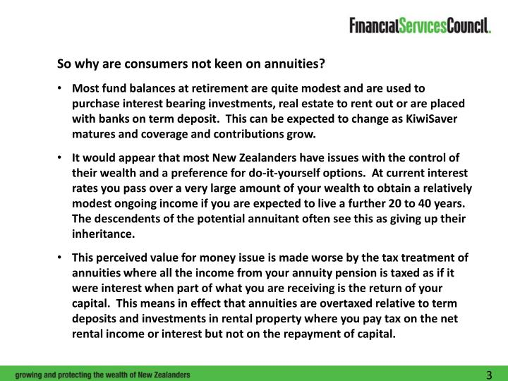 So why are consumers not keen on annuities?