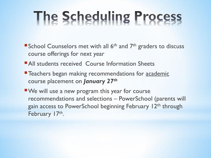 The scheduling process