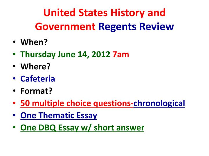 thematic essay us history regents United states history and government regents examinations part ii - thematic essay: pages 31—64 (34 mb) rating guide, part iiia and part iiib - dbq.