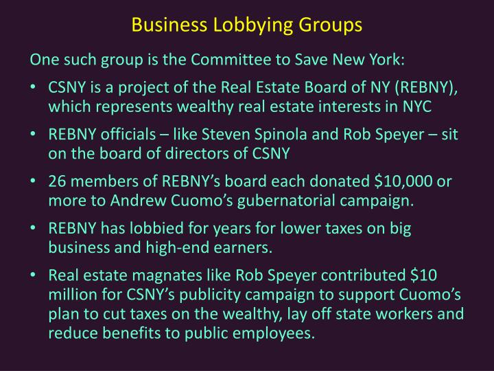 Business Lobbying Groups