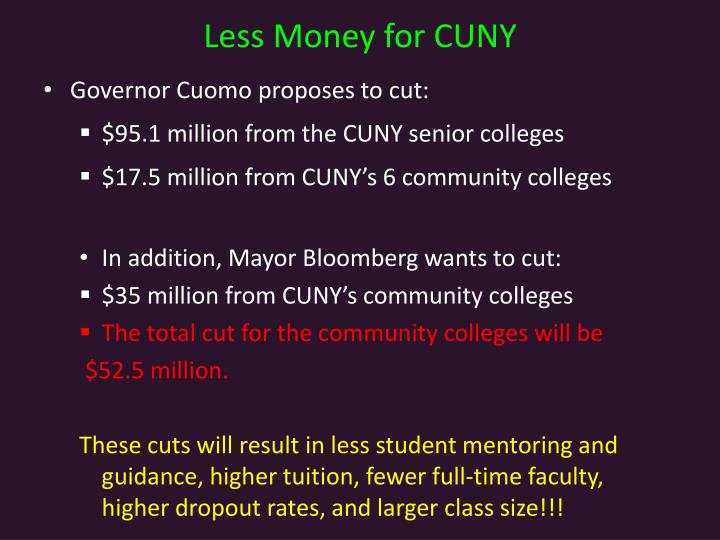 Less Money for CUNY