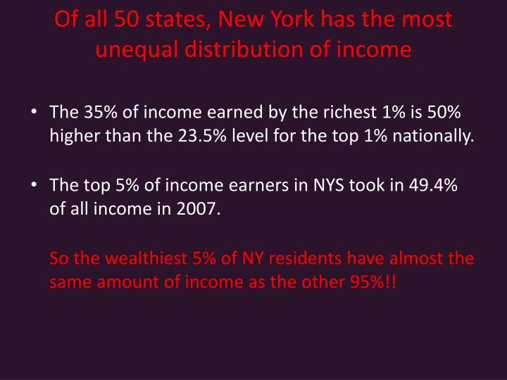 Of all 50 states, New York has the most unequal distribution of income