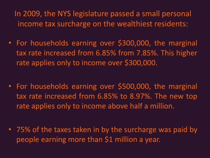 In 2009, the NYS legislature passed a small personal income tax surcharge on the wealthiest residents: