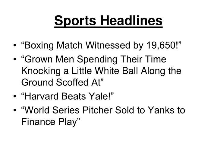 Sports Headlines