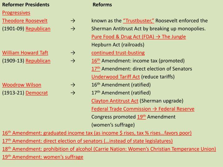 Reformer Presidents