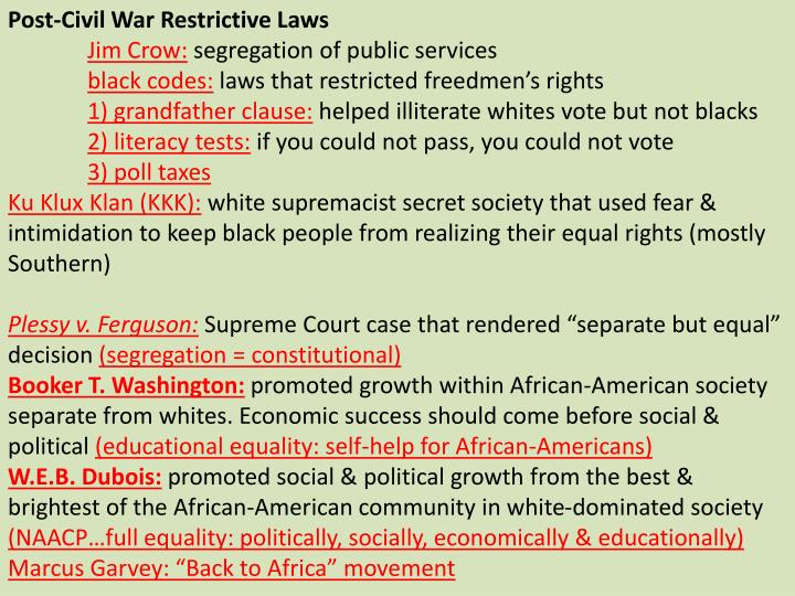 Post-Civil War Restrictive Laws