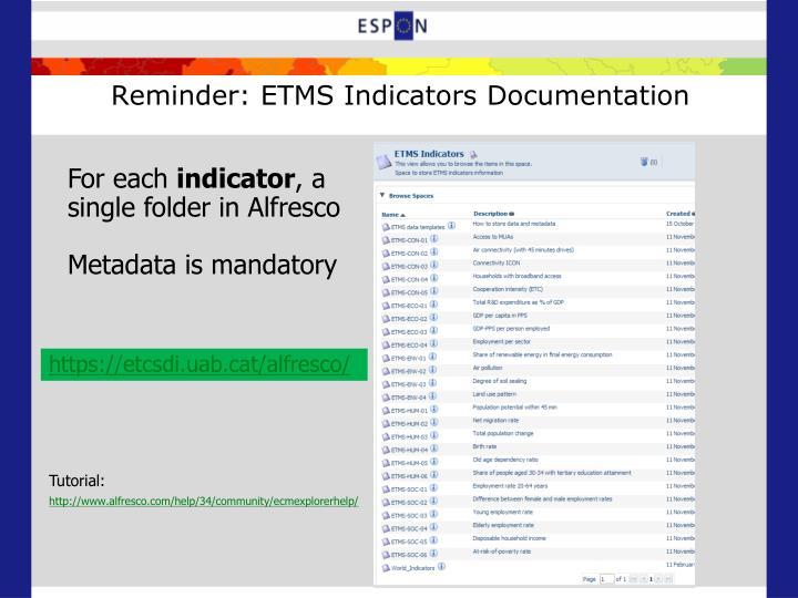 Reminder: ETMS Indicators Documentation