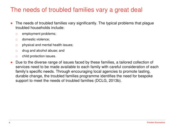 The needs of troubled families vary a great deal