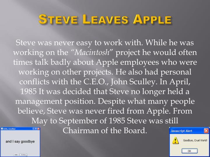 Steve Leaves Apple