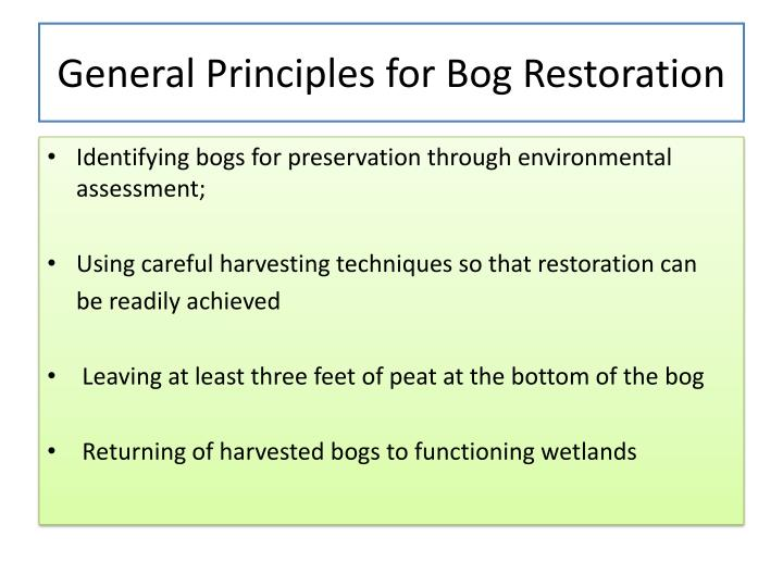 General Principles for Bog Restoration