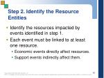 step 2 identify the resource entities