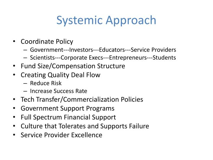 Systemic Approach