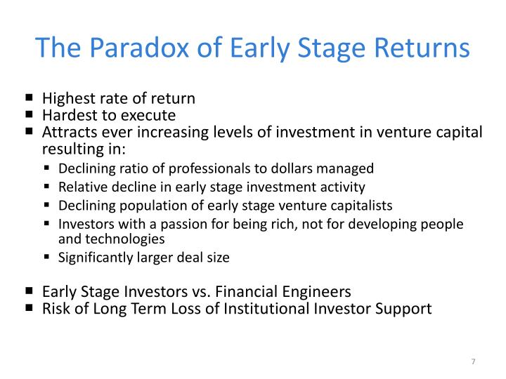 The Paradox of Early Stage Returns