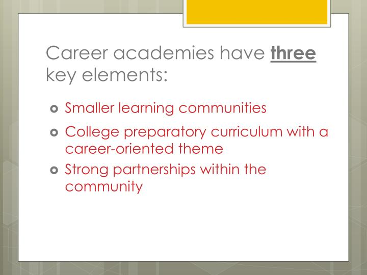 Career academies have