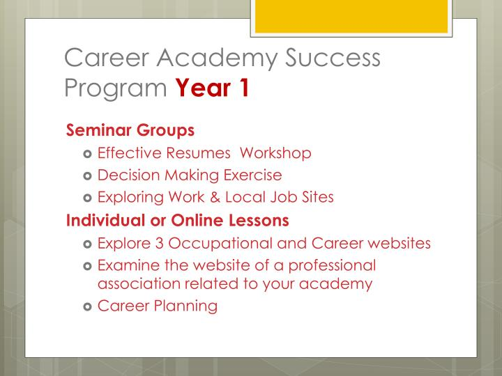 Career Academy Success Program
