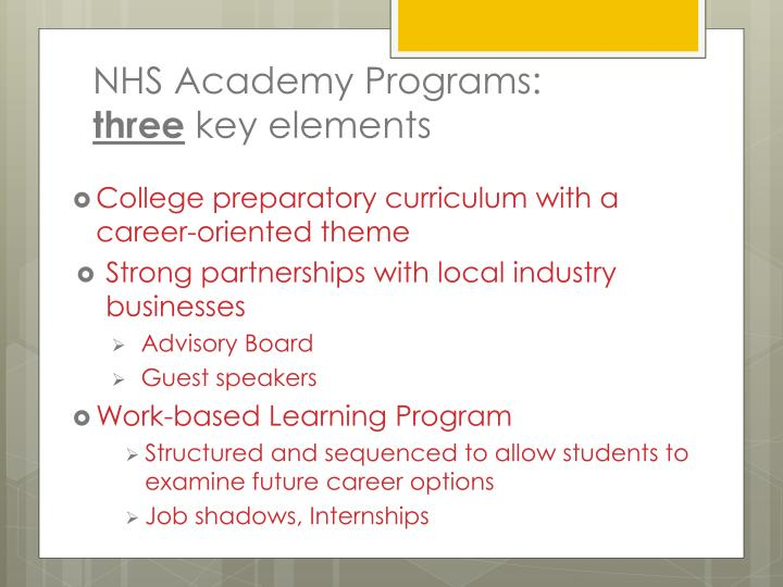 NHS Academy Programs: