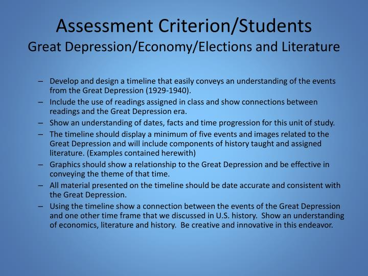 Assessment Criterion/Students