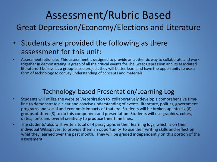 Assessment/Rubric Based