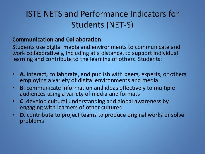 ISTE NETS and Performance Indicators for Students (NET-S)