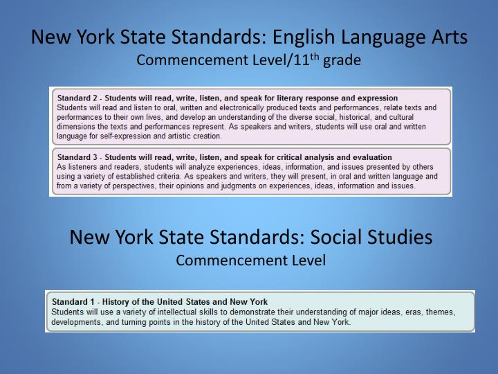 New york state standards english language arts commencement level 11 th grade