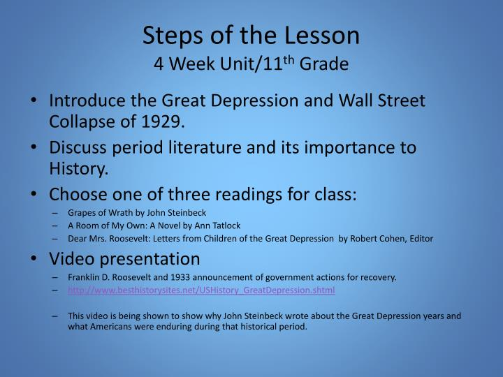 Steps of the Lesson