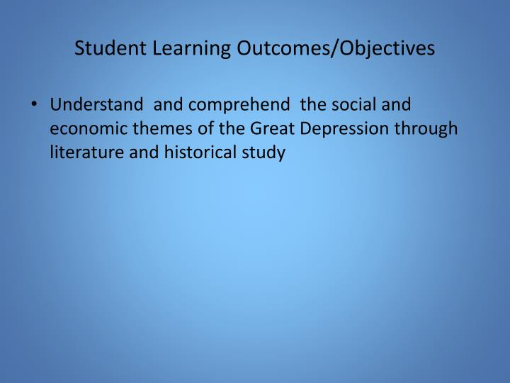 Student learning outcomes objectives