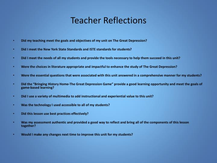 Teacher Reflections