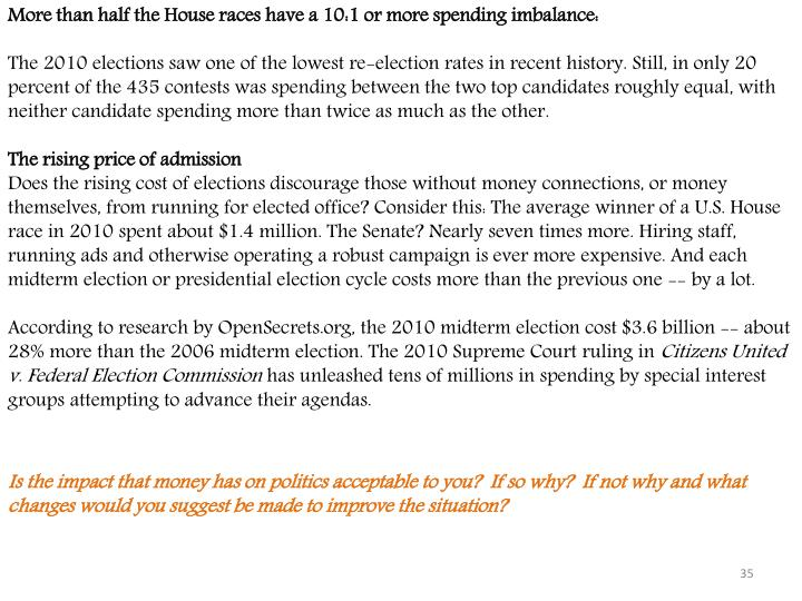More than half the House races have a 10:1 or more spending