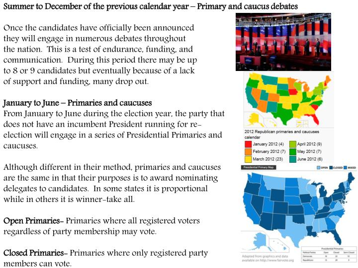 Summer to December of the previous calendar year – Primary and caucus