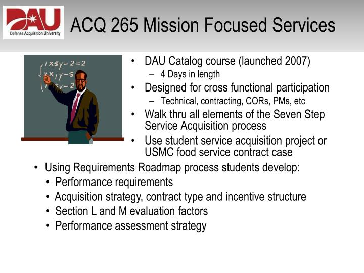 Component of the defense acquisition university mission support strategy