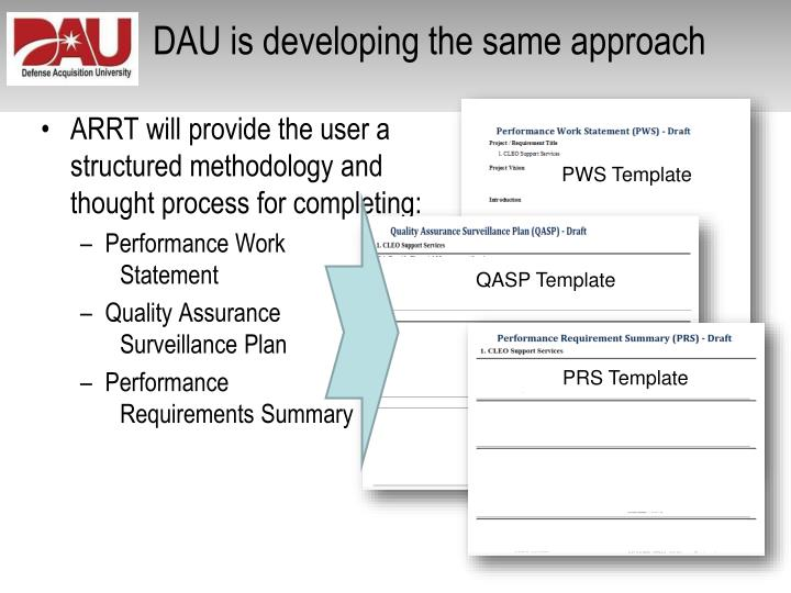 Ppt improving the tradecraft in services acquisition for Quality assurance surveillance plan template