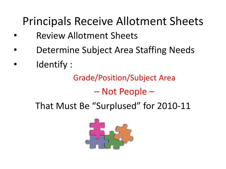 Principals Receive Allotment Sheets