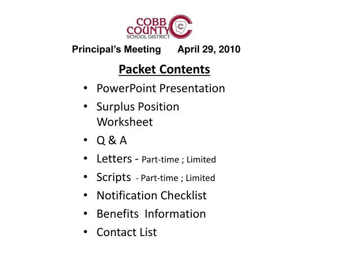 Principal's Meeting