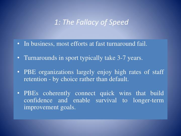 1: The Fallacy of Speed