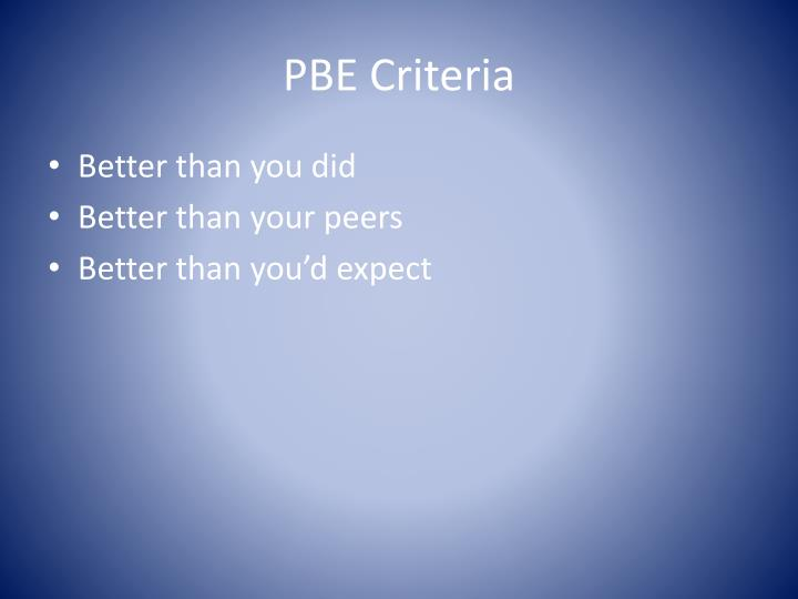 PBE Criteria