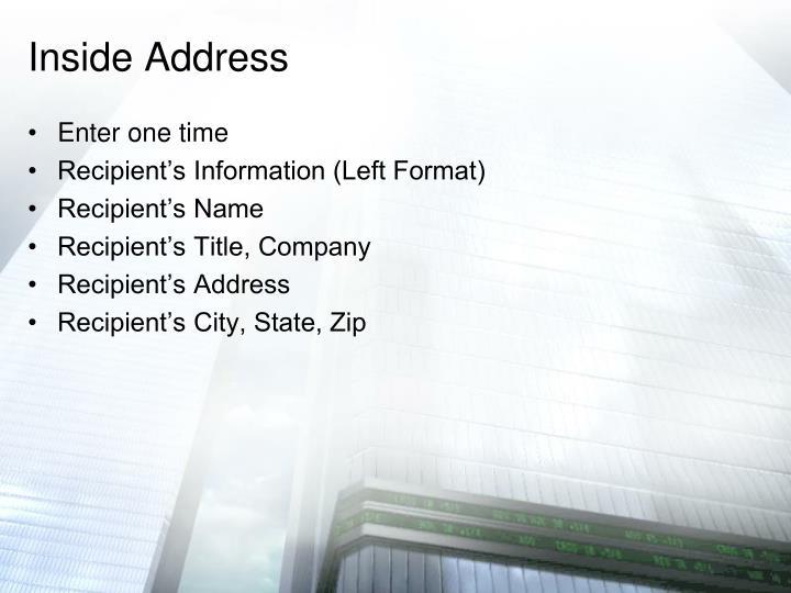 Inside Address