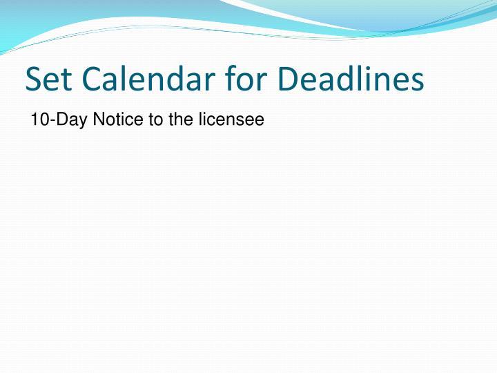 Set Calendar for