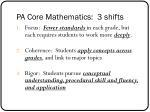 pa core mathematics 3 shifts