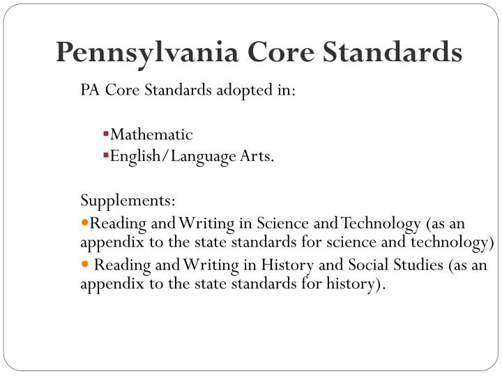 Pennsylvania Core Standards