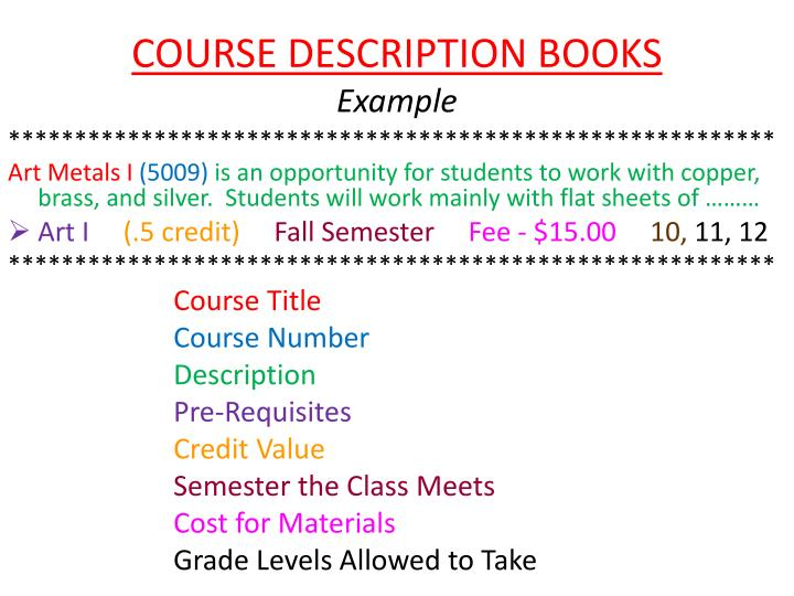 COURSE DESCRIPTION BOOKS