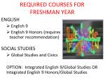 required courses for freshman year