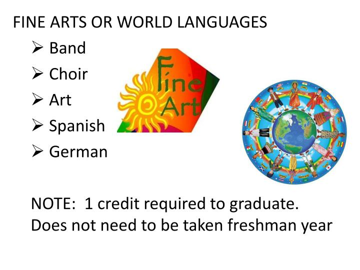 FINE ARTS OR WORLD LANGUAGES