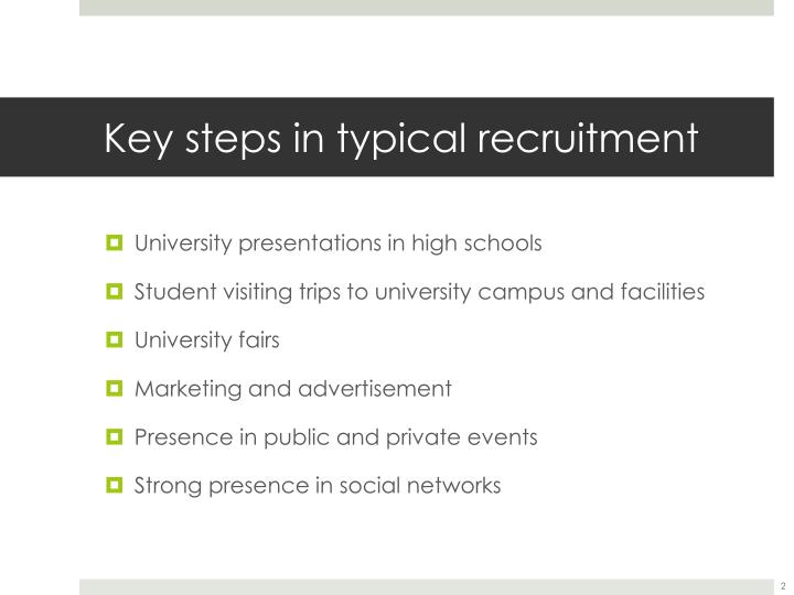 Key steps in typical recruitment